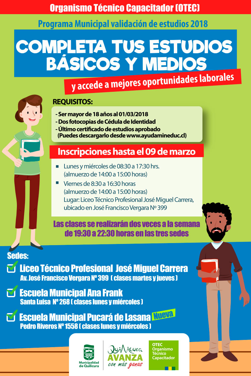 Programa Municipal Validación de Estudios 2018 (Organismo Técnico Capacitador) @ José Francisco Vergara 399