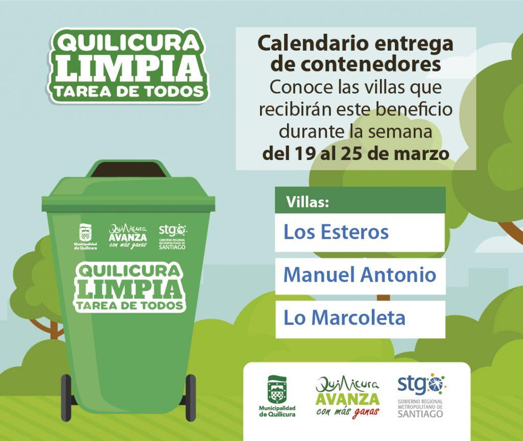 Entrega de contenedores 19 al 25 de Marzo @ Villas Quilicura
