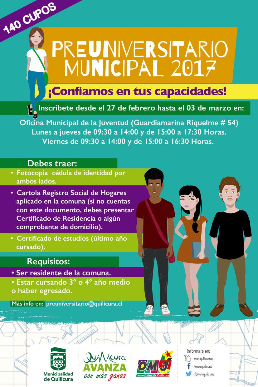 Inscripción Beca Preuniversitario Municipal @ Guardiamarina Riquelme N°54