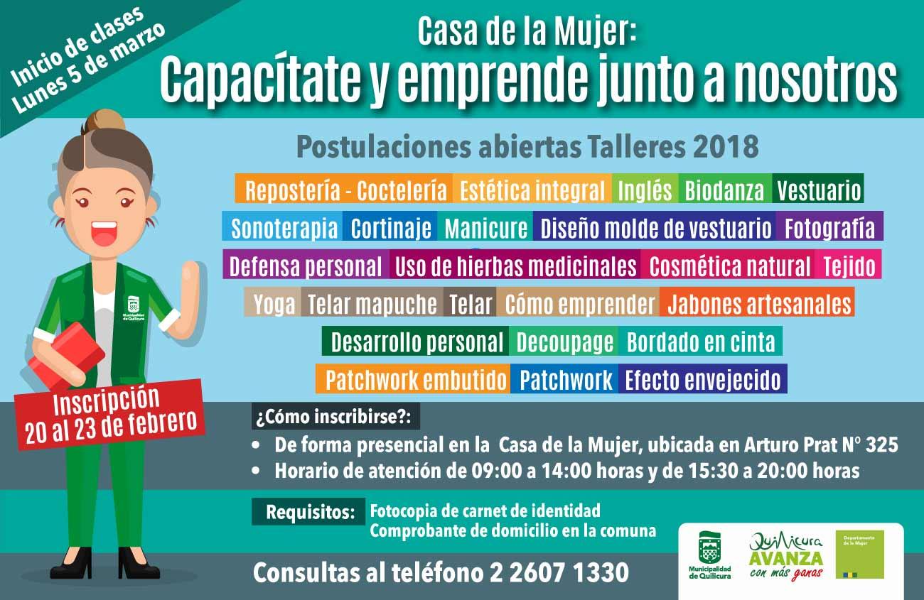 Inscripción Talleres Casa de la Mujer 2018 @ Arturo Prat N° 325
