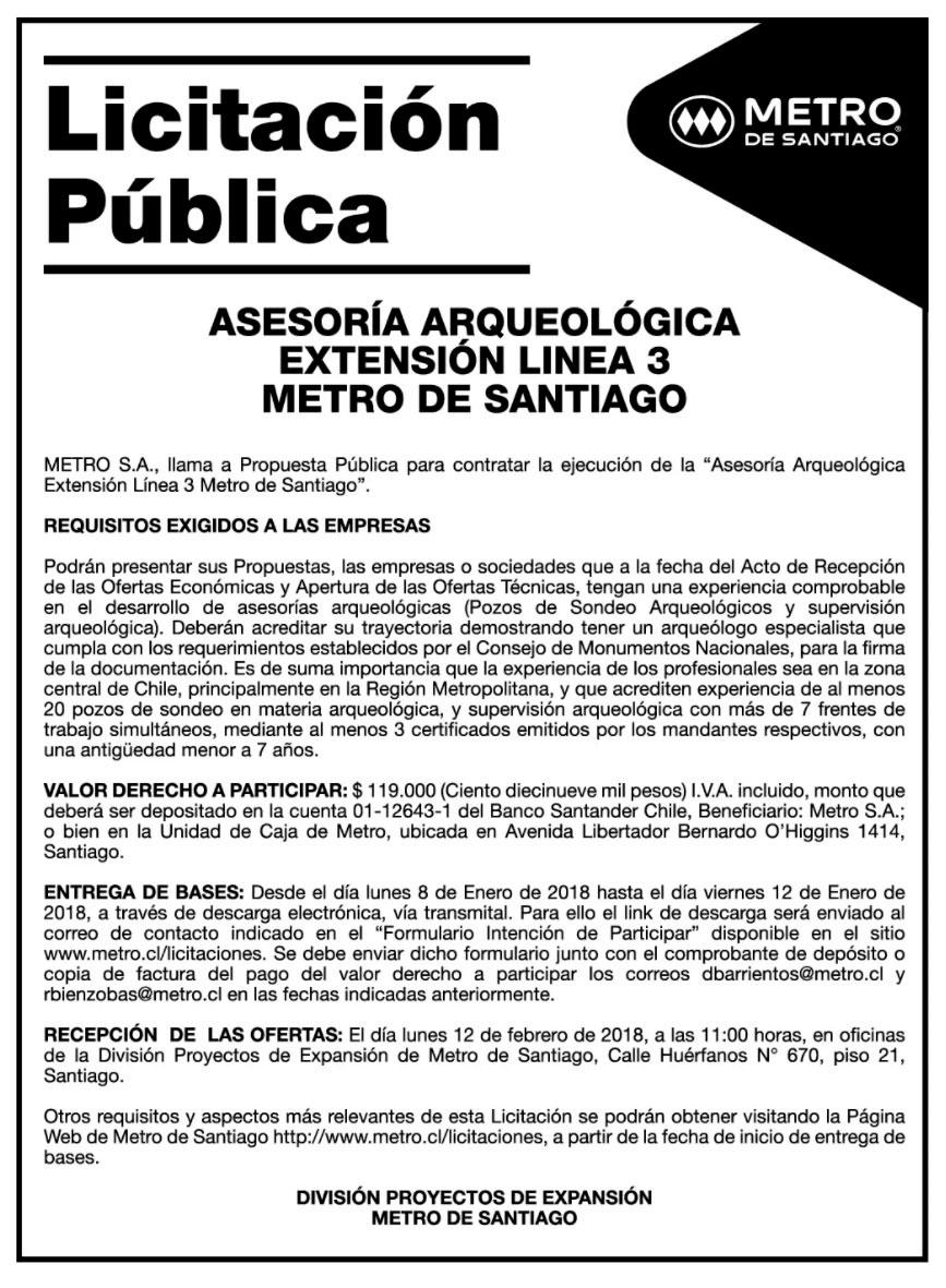 Metro De Santiago Busca Asesoria Arqueologica Para Linea 3 Muni